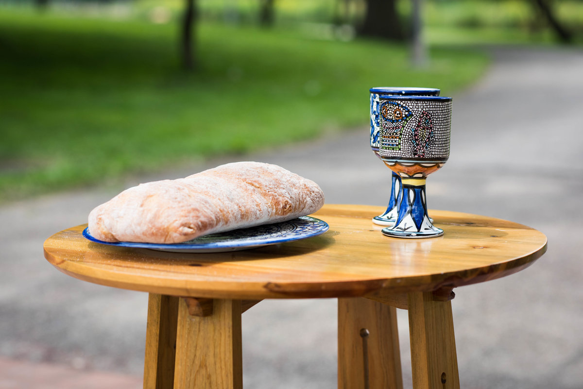 Bread and wine for communion, Chicago wedding, Humboldt Park.