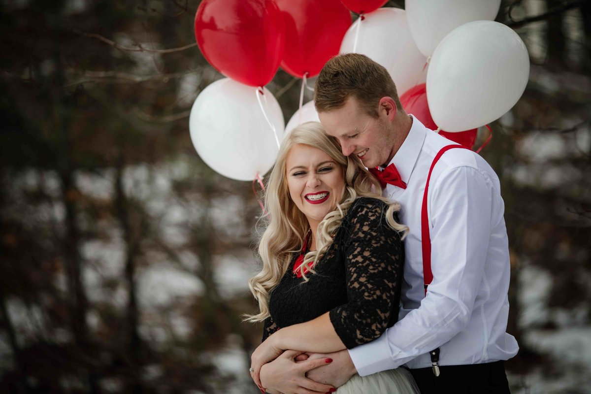 09 Engagement photo with balloons for Allen Hill Farm Wedding