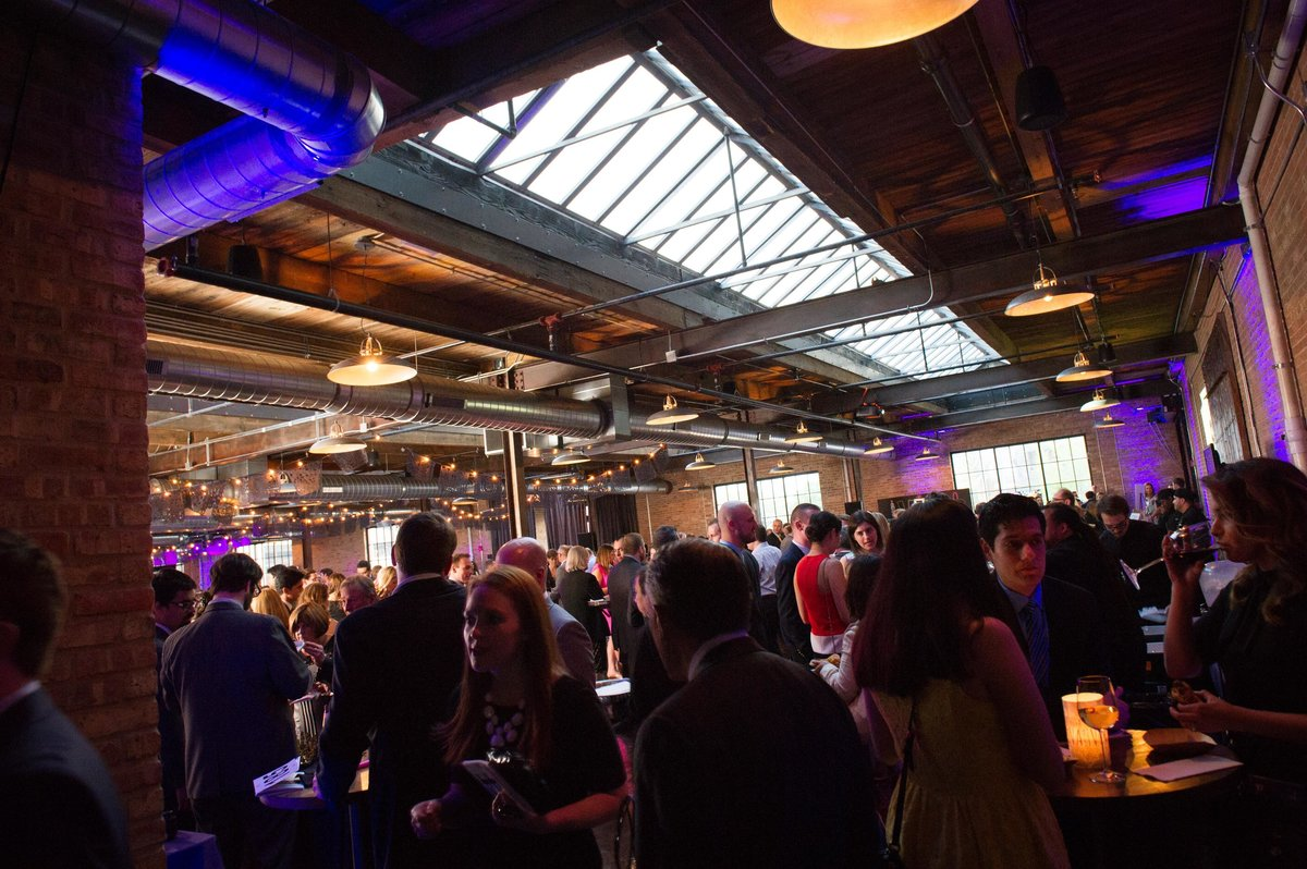 Crowd mingles, Chicago fundraiser, Morgan Manufacturing.