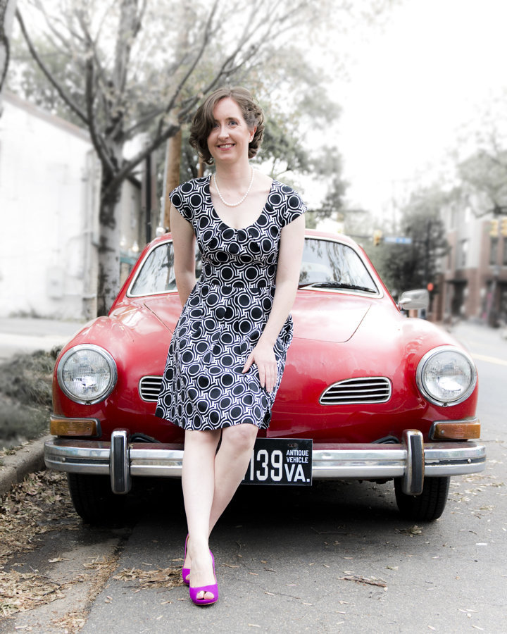 Lifestyle Portraits with red car in old town Alexandria, Lifestyle Photographer