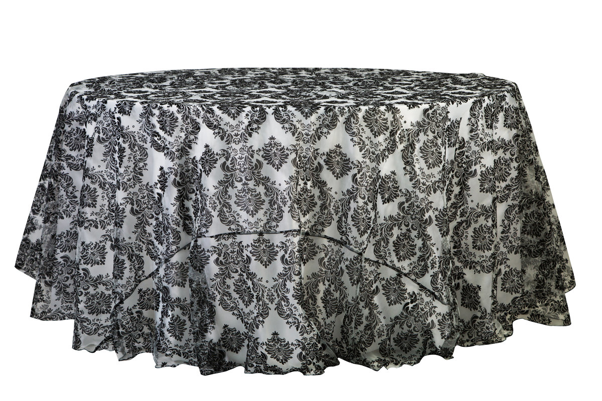 120'' & 132'' Black & White Damask Tablecloth