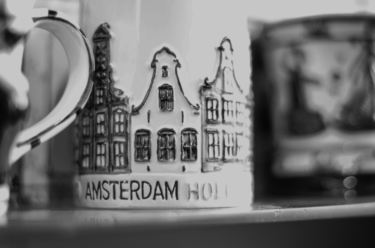 black and white image of Amsterdam coffee mug in Amsterdam, Netherlands