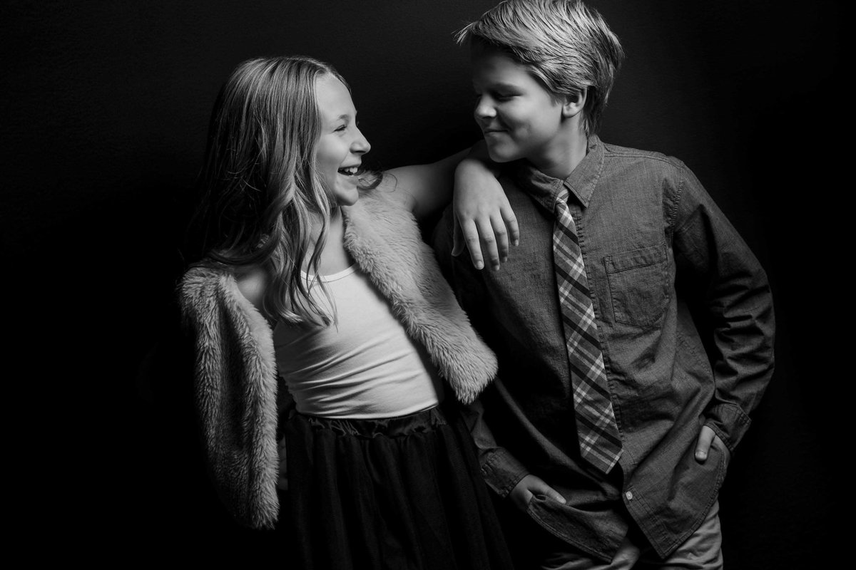 Stylish high fashion brother sister family photo by King and Fields Studios Charleston SC