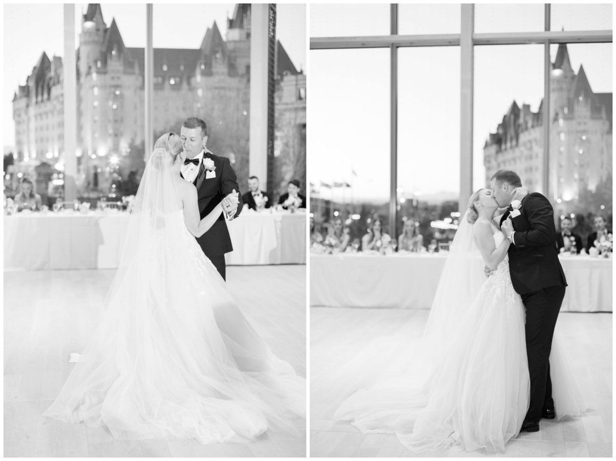Light-and-Airy-Ottawa-Wedding-Photographer_Black-and-White-First-Dance-NAC-Chateau-Laurier