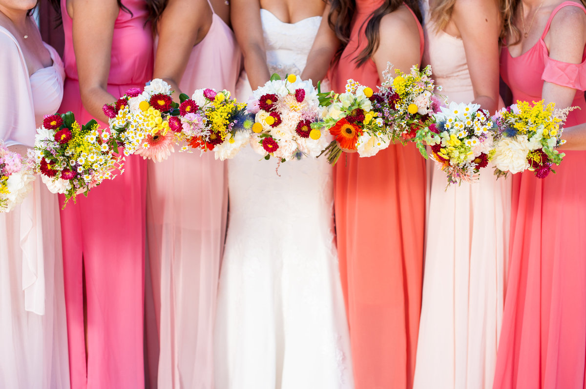 San Diego bride and bridesmaids floral bouquets at Milagro Winery