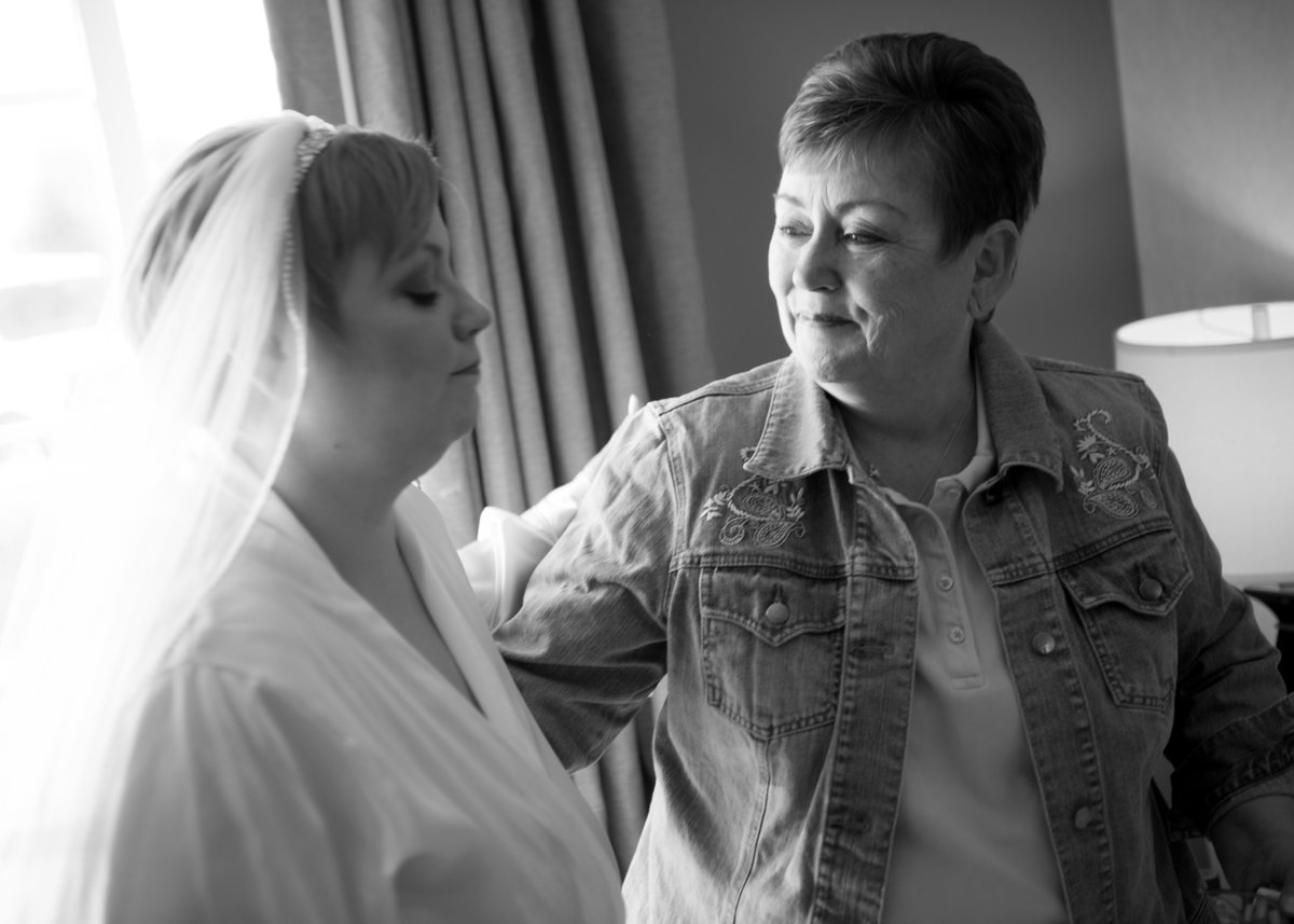 Mother and Daughter on wedding day, Chicago IL.