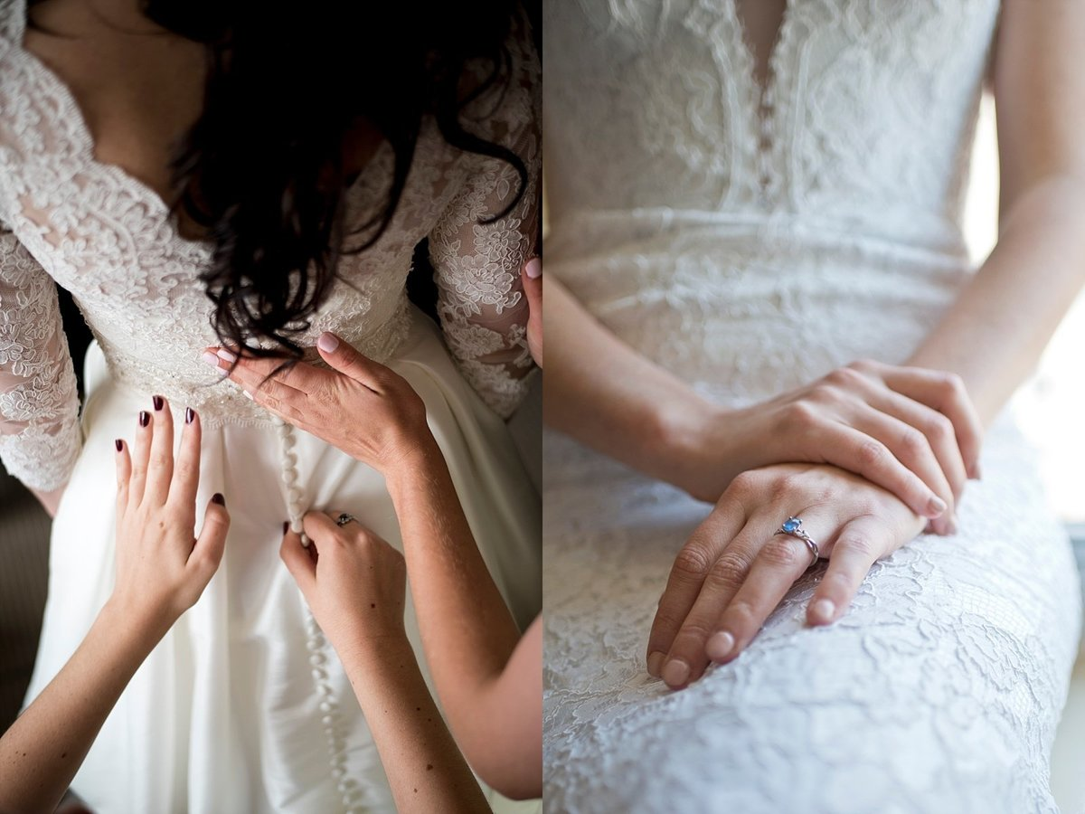 Bride Getting Ready in Lace Wedding Dress