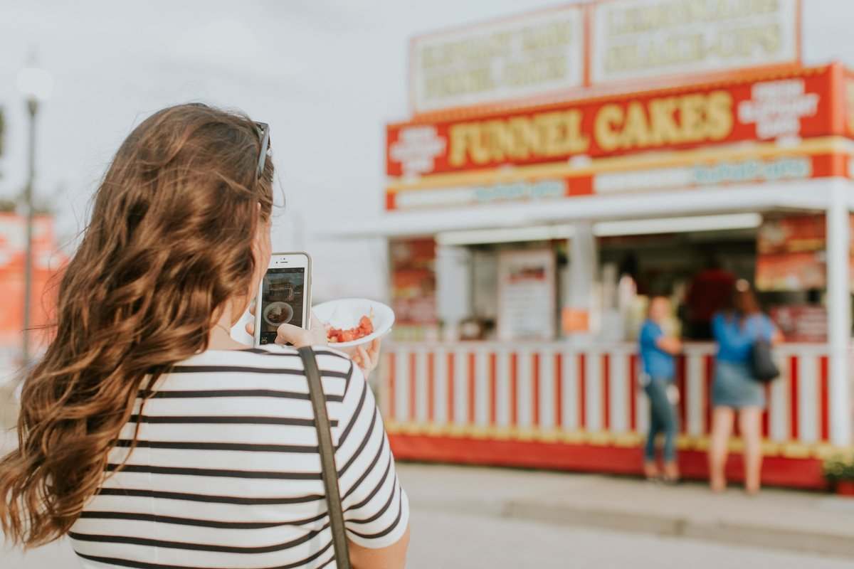 Yelp Elite takes a photo of her food at Indianapolis Fair