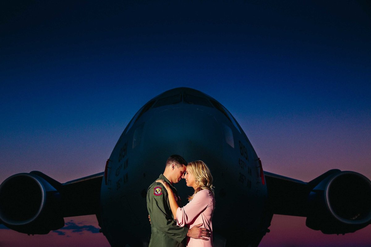 Boeing-C70-Sunset-Engagement-Photos-Charleston-Airforce-Base-Wedding-Photographers-in-Charleston-SC-Fia-Forever-Photography