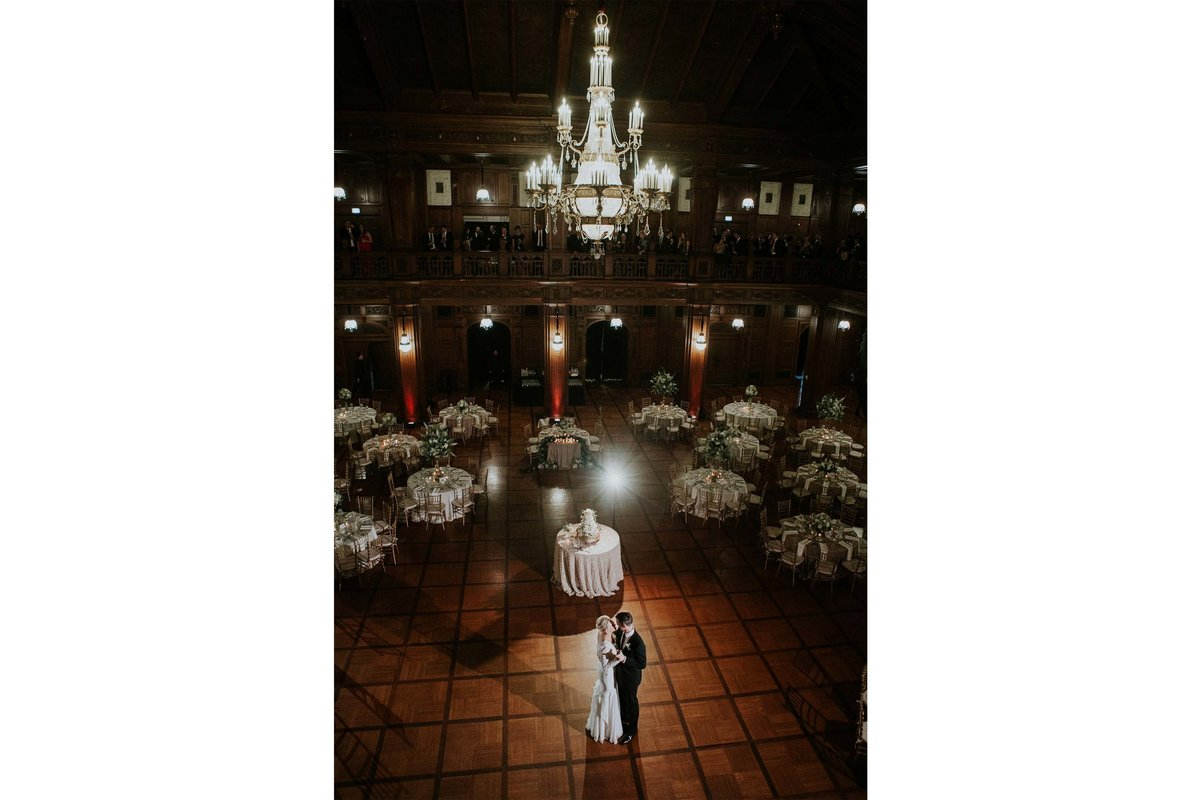 Couple dances at reception at Scottish Rite Cathedral