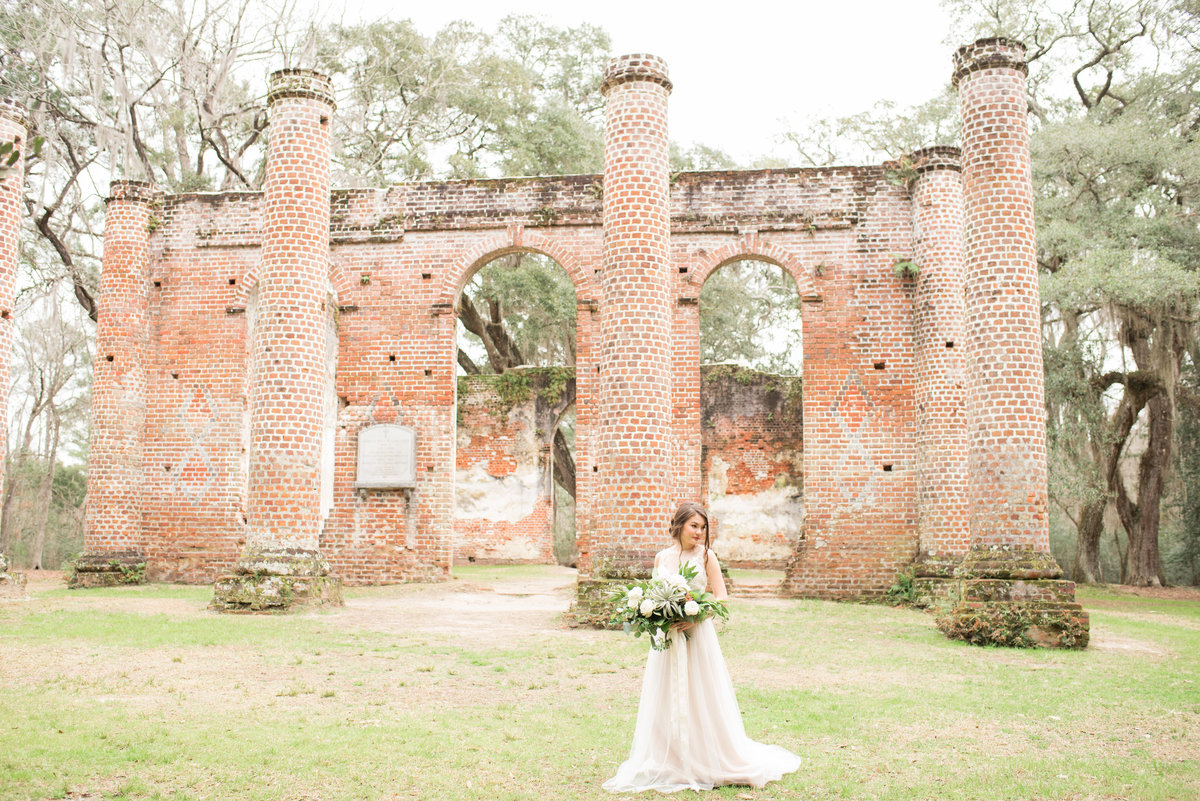 Old Sheldon Church Ruins Wedding Photo by Michelle Kujawski Photography
