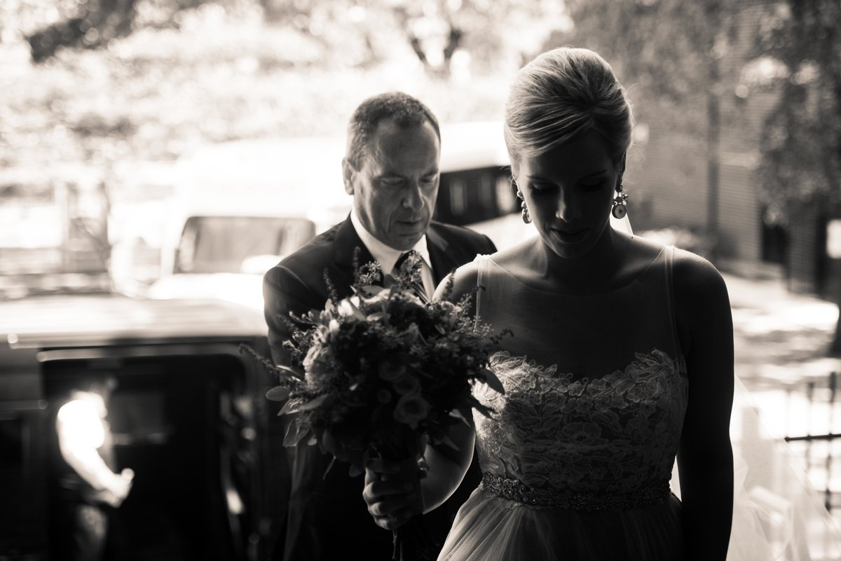 Bride entering church, silhouette, Chicago IL.