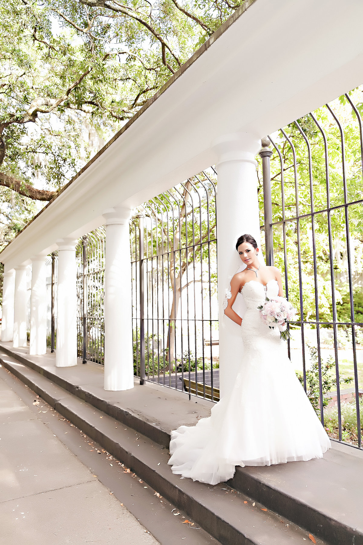 Savannah Mansion Forsyth Park Wedding Spring Pink Blue Bride Portrait Romantic Bouquet Pink Flowers