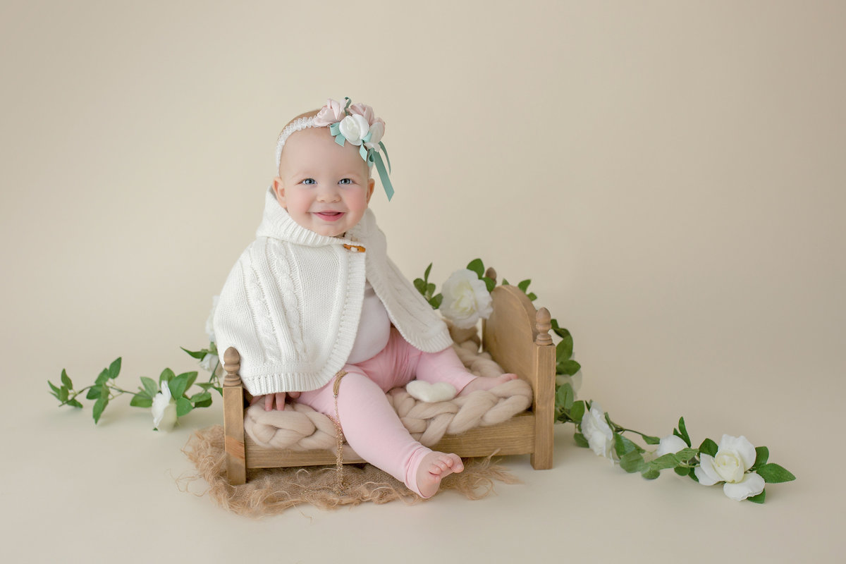 7 month old girl studio portrait photography