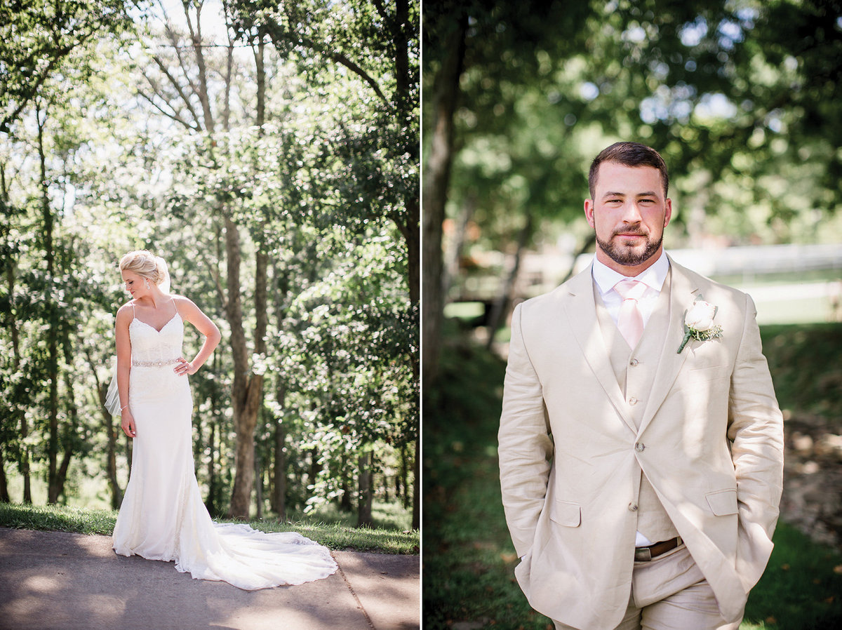 Bride and Groom solo shots by Knoxville Wedding Photographer, Amanda May Photos.