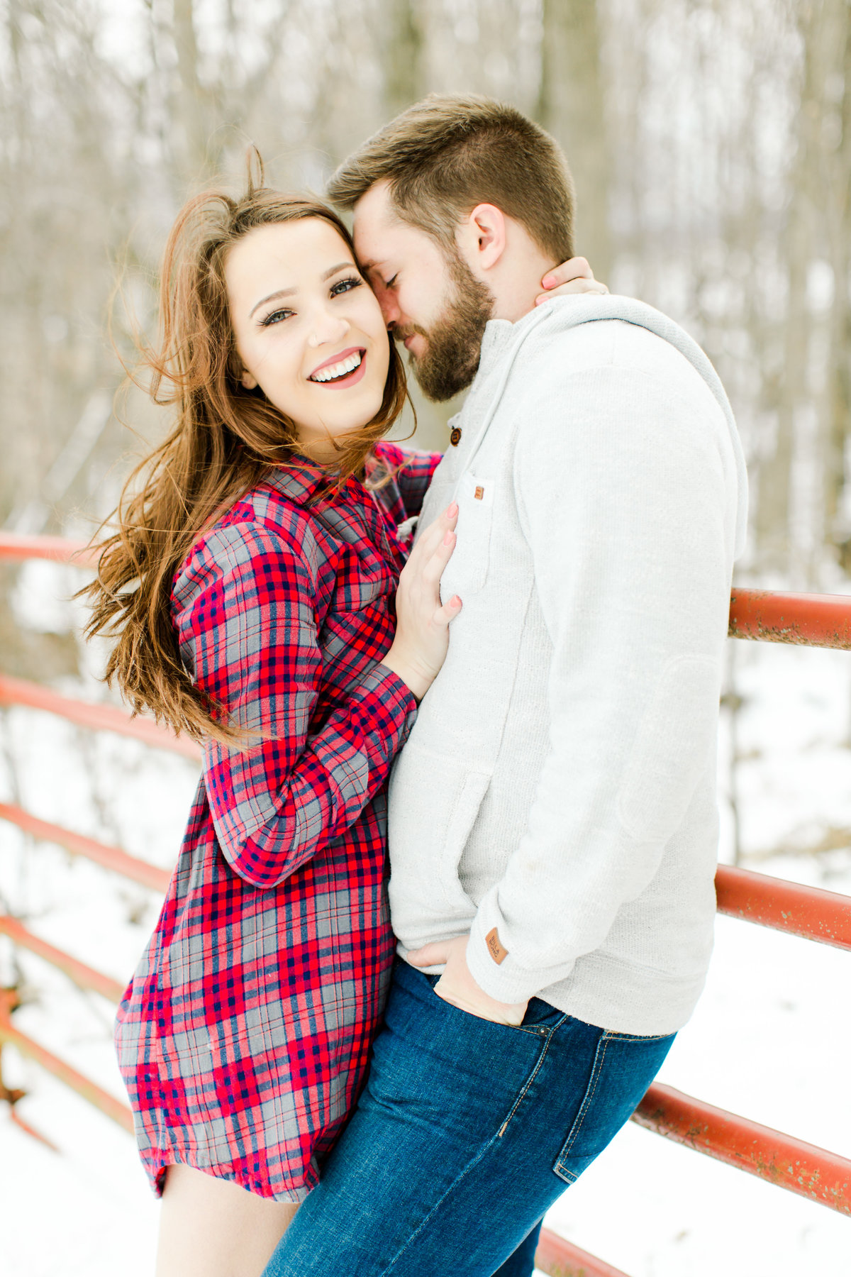 Winter Snowy Engagement Session in The Woods-30