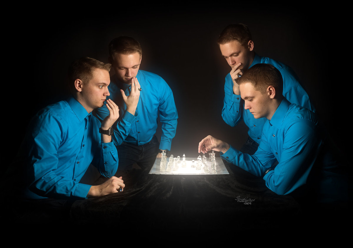 Creative Senior Boy Chess Portrait, using multiplicity technique. Photo by Stacy Holbert, Booneville AR
