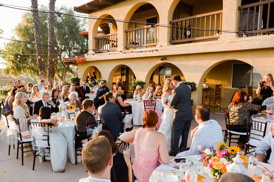 Outdoors first dance of newly weds at Europa Village Winery