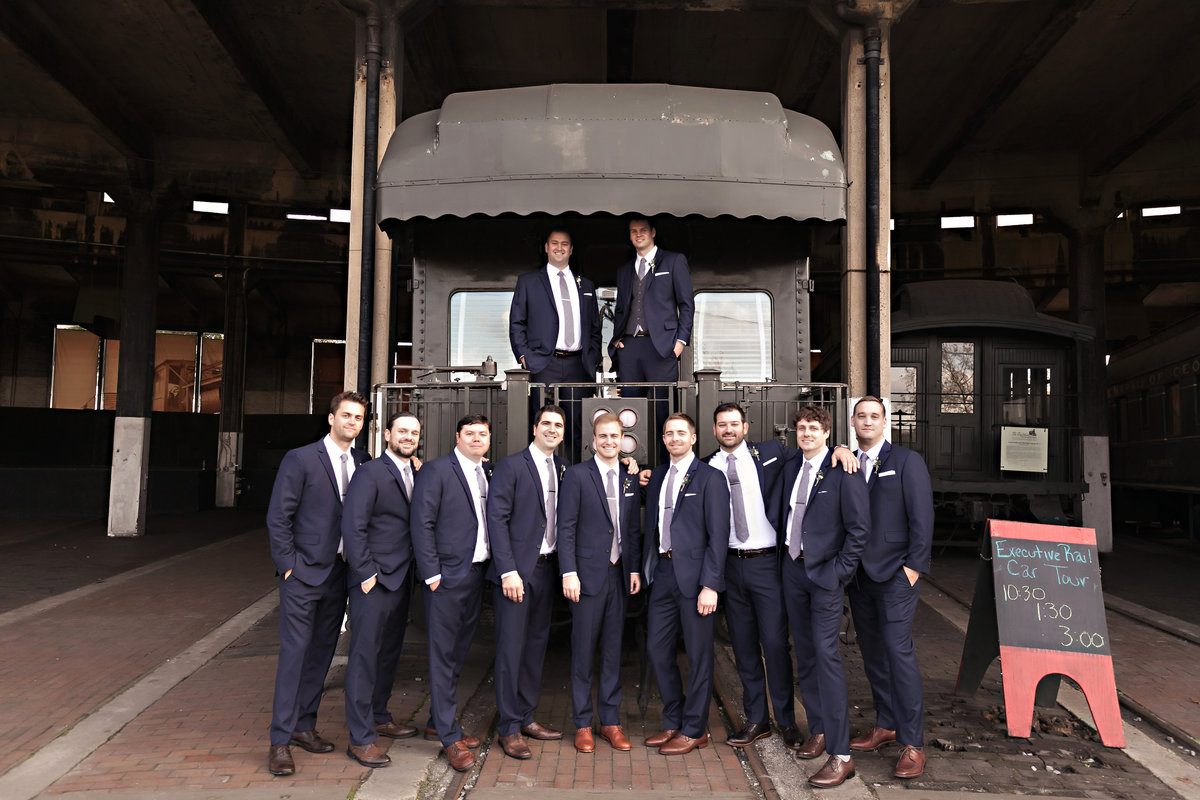 Savannah Georgia Railroad Museum Wedding Bride Groom Groomsmen Portrait SoHo South Bohemian