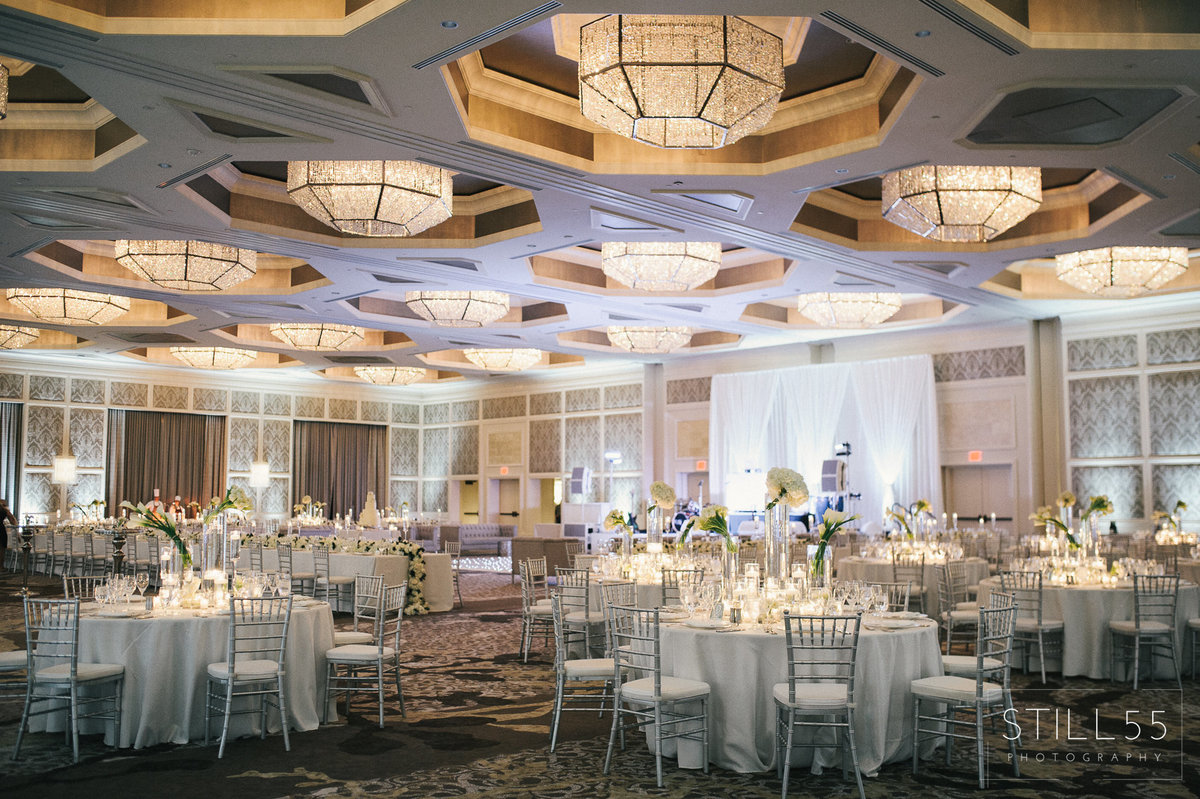 Four Seasons Orlando white and greenery silver wedding