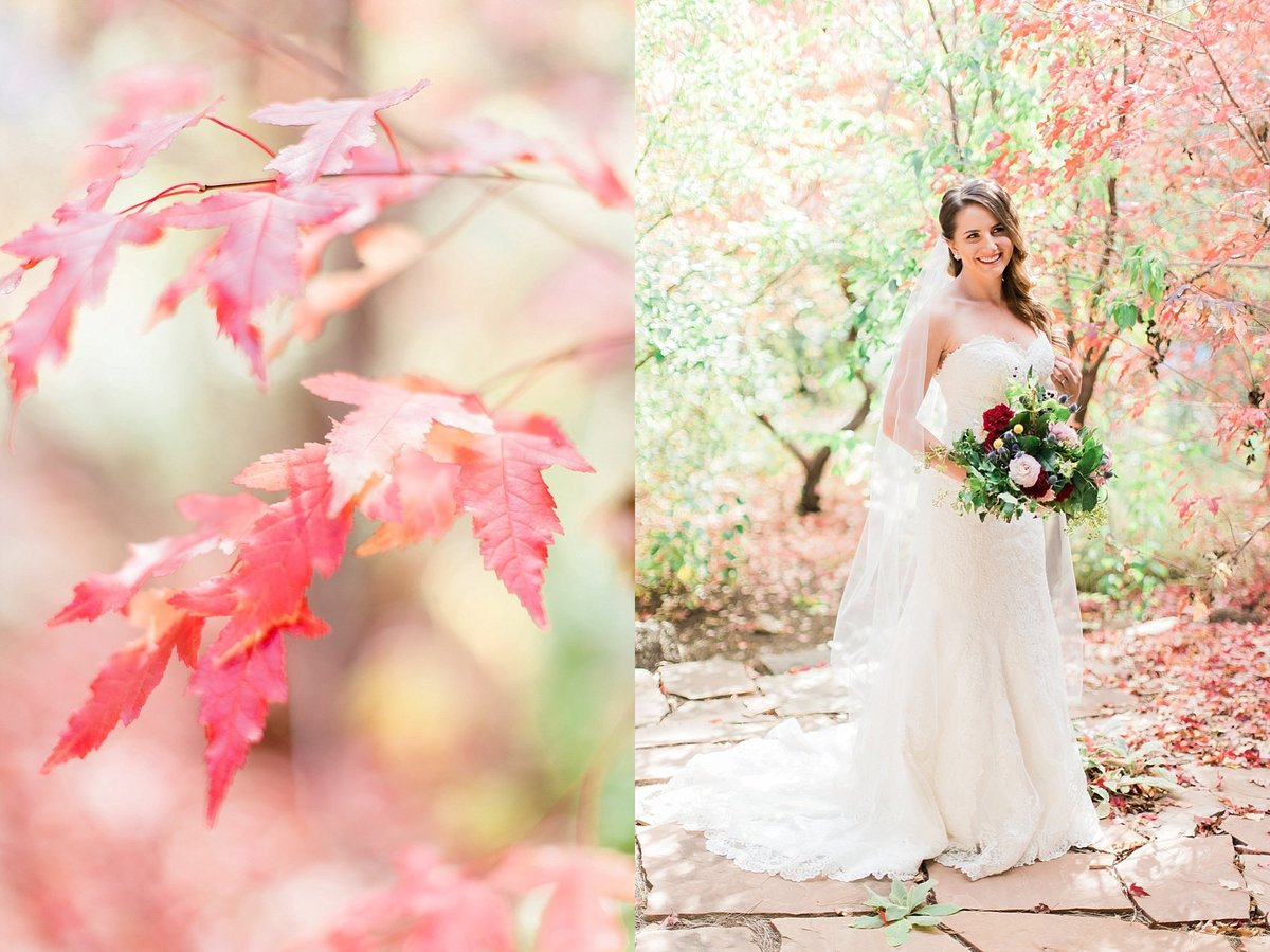 Bride with fall leaves by Flagstaff Wedding Photographers