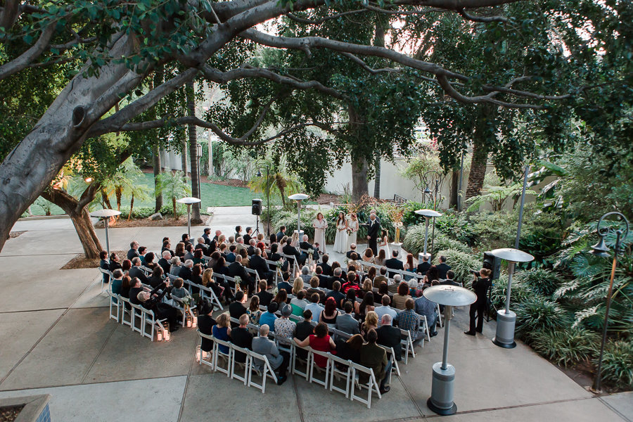 overhead shot of guests sitting during ceremony at LA River Center