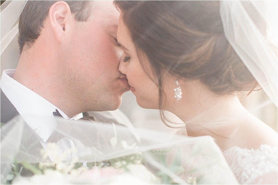Bride and Groom Romantic Kiss Under Veil Wedding Photography