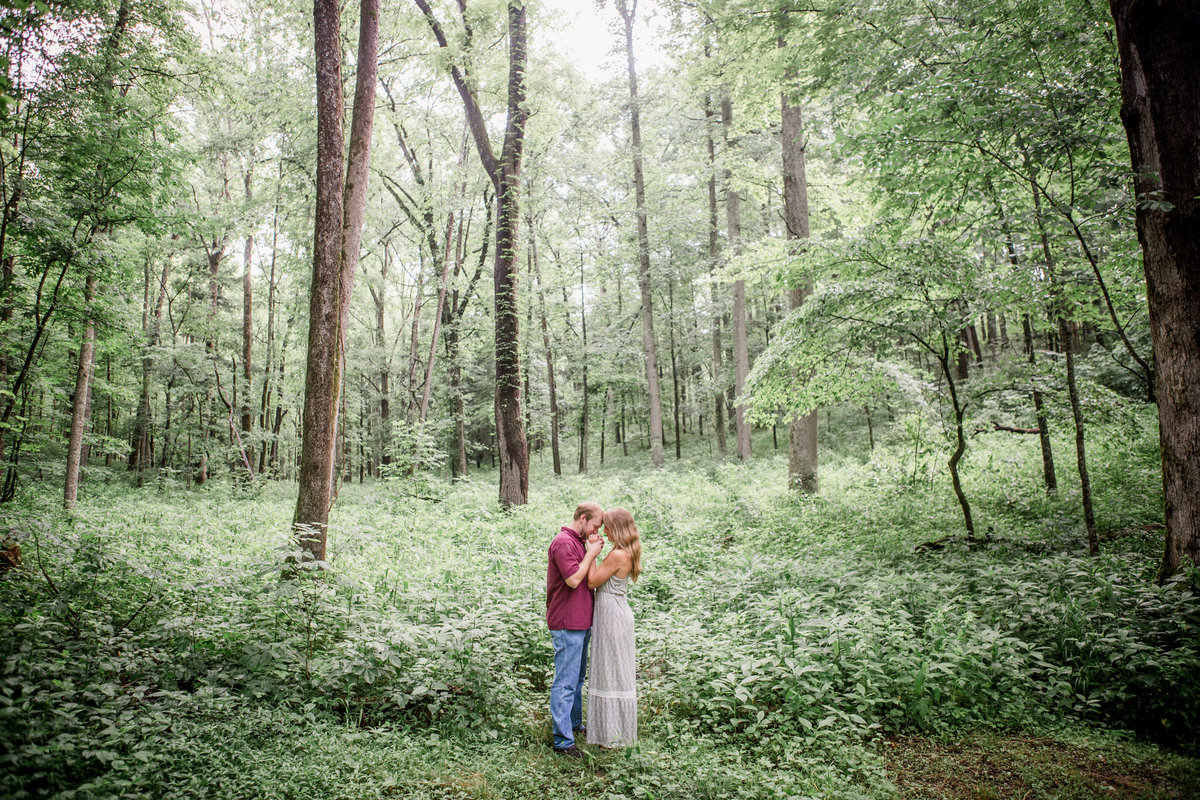 Standing at the brink of the Smoky Mountain Forest in Cades Cove engagement photo by Knoxville Wedding Photographer, Amanda May Photos.