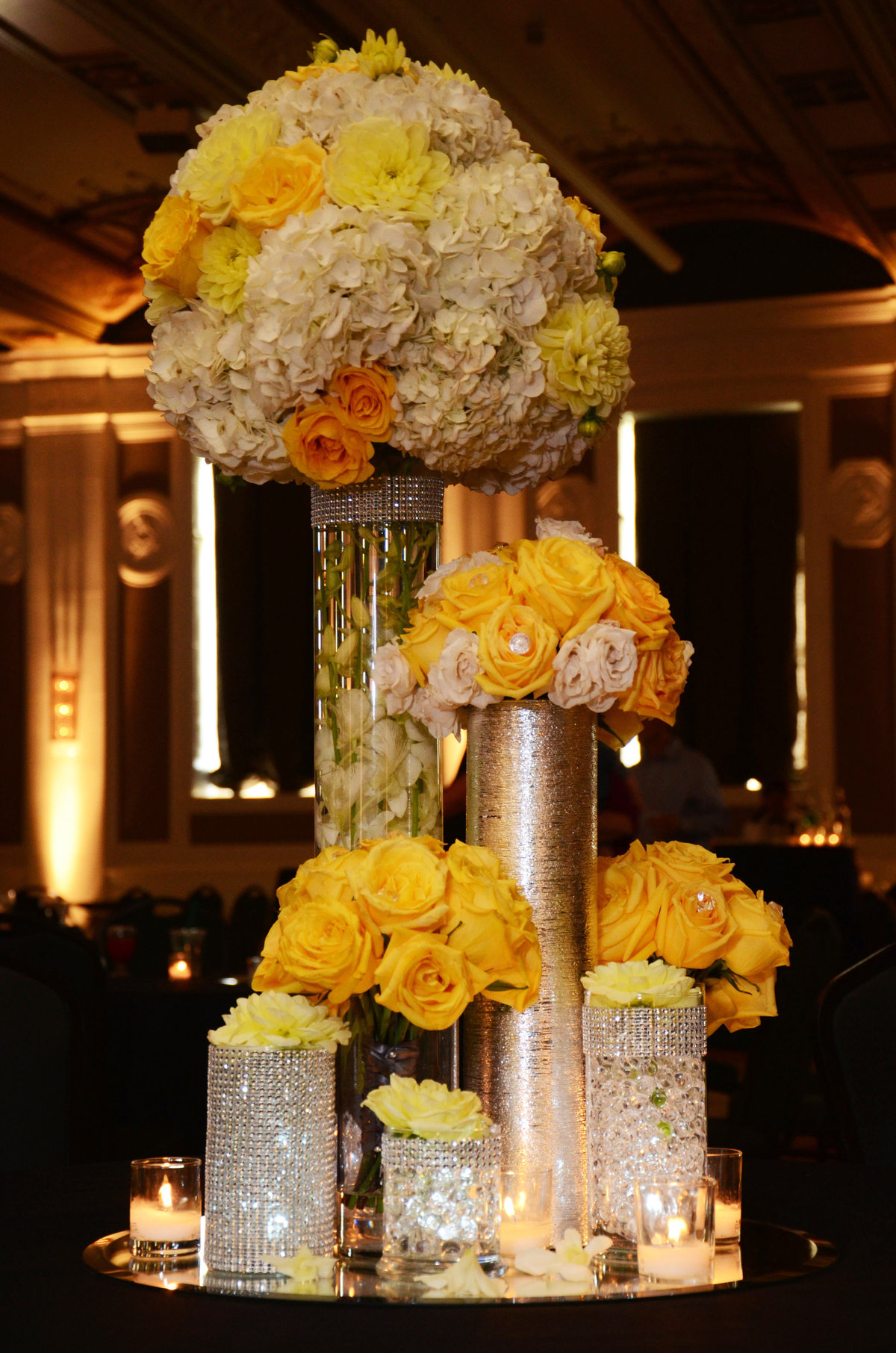 Portland OR wedding yellow floral centerpieces