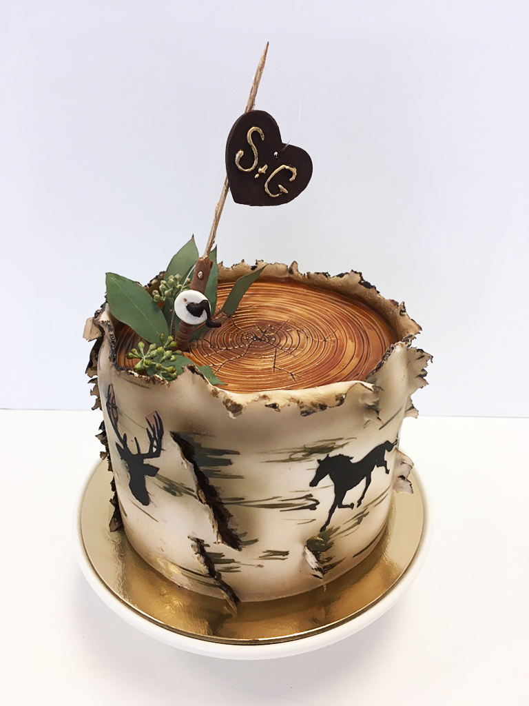 Whippt Wedding Cutting Cake - Bark texture and silhouettes 2017