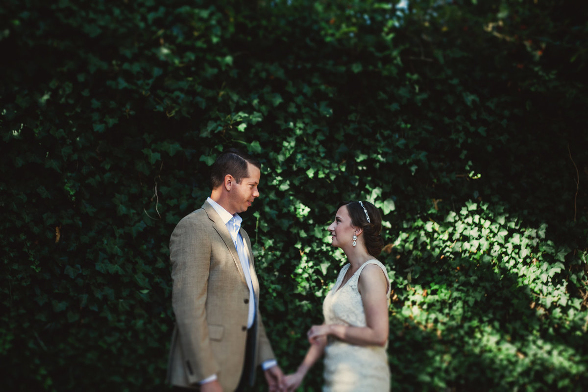 Bride and groom seeing each other during their first look in Portland Oregon | Susie Moreno Photography
