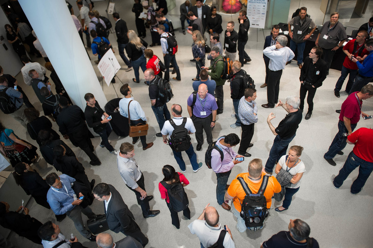Crowd from above at Chicago tech summit event.