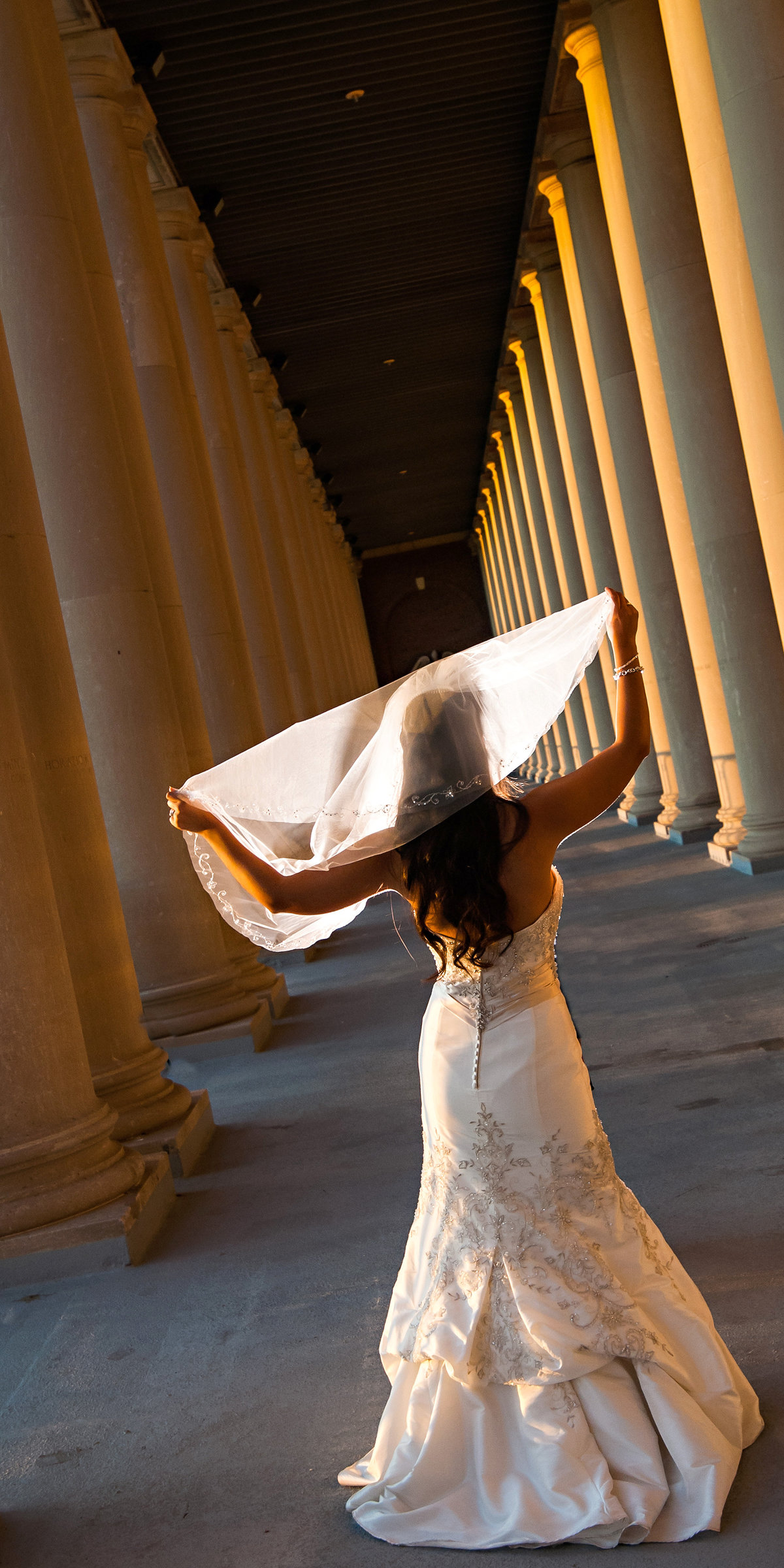 University of Illinois' Memorial Coliseum is the perfect spot for the bride in Urbana, Illinois.