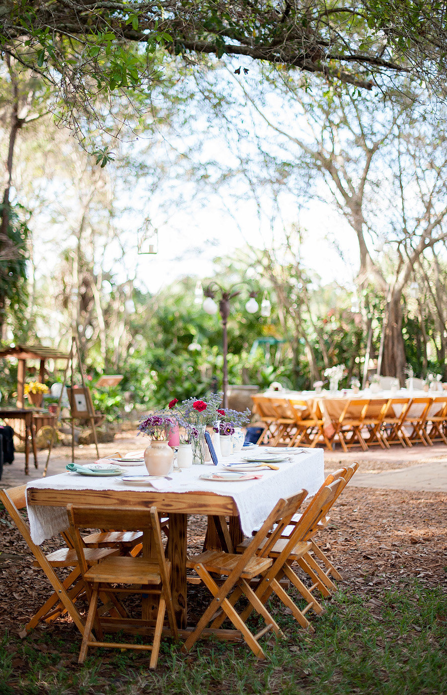 outdoor reception with farm tables