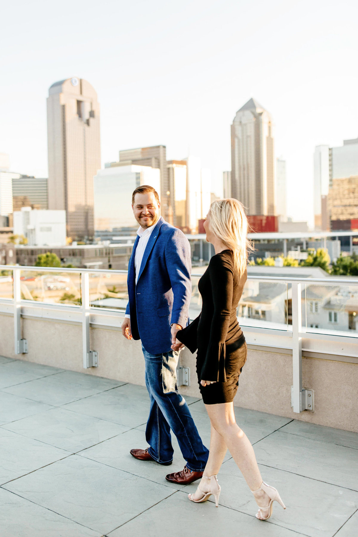 Eric & Megan - Downtown Dallas Rooftop Proposal & Engagement Session-74