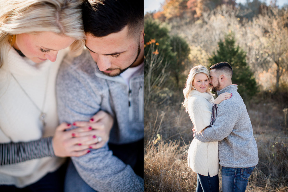 Doubled up cuddles at Meads Quarry engagement photo by Knoxville Wedding Photographer, Amanda May Photos.