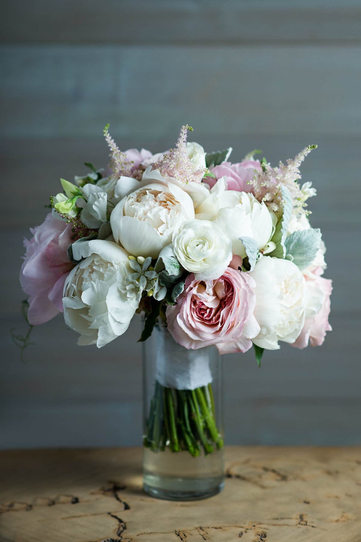 Pastel Wedding Bouquet filled pinks, cremes, and light green colors
