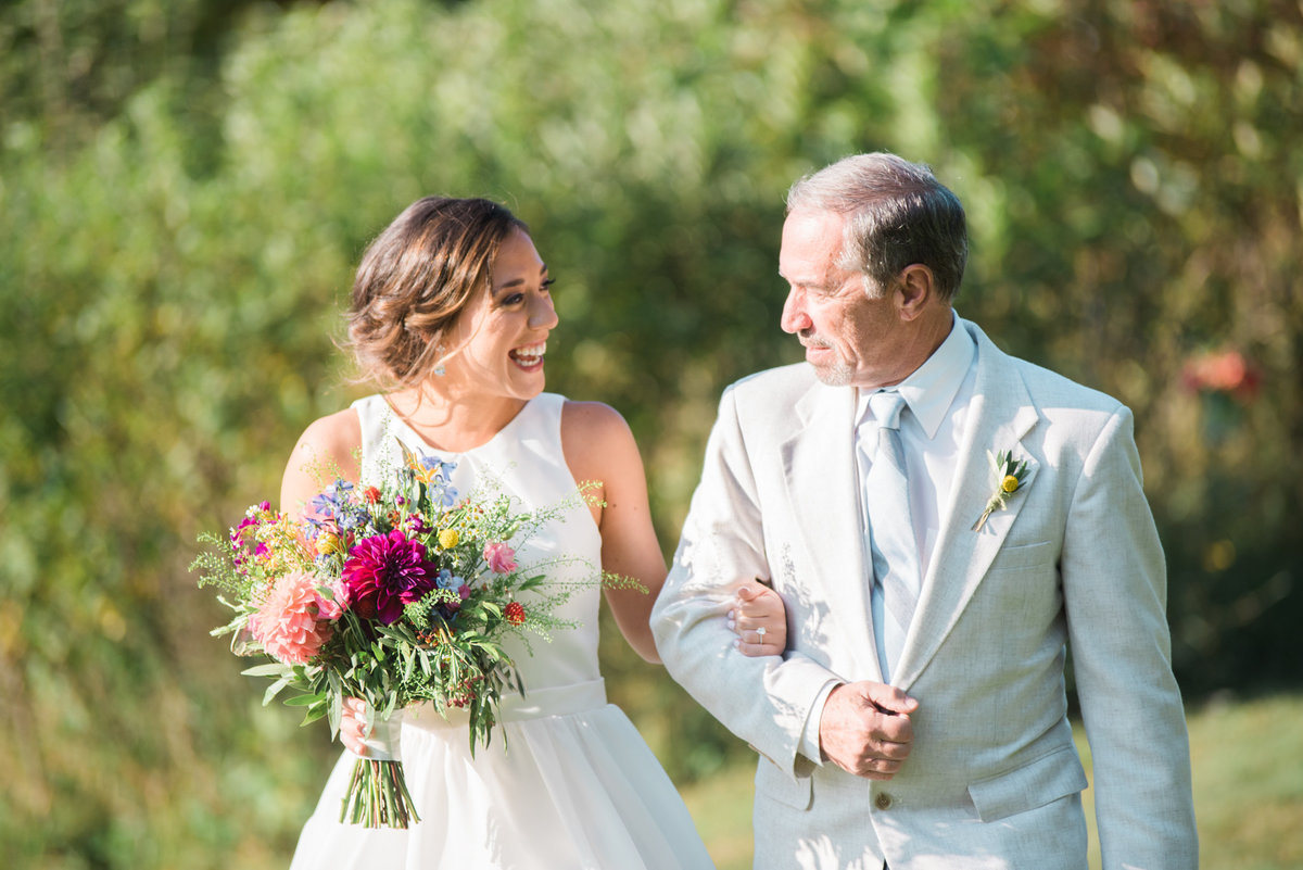 bride with father, walking down aisle