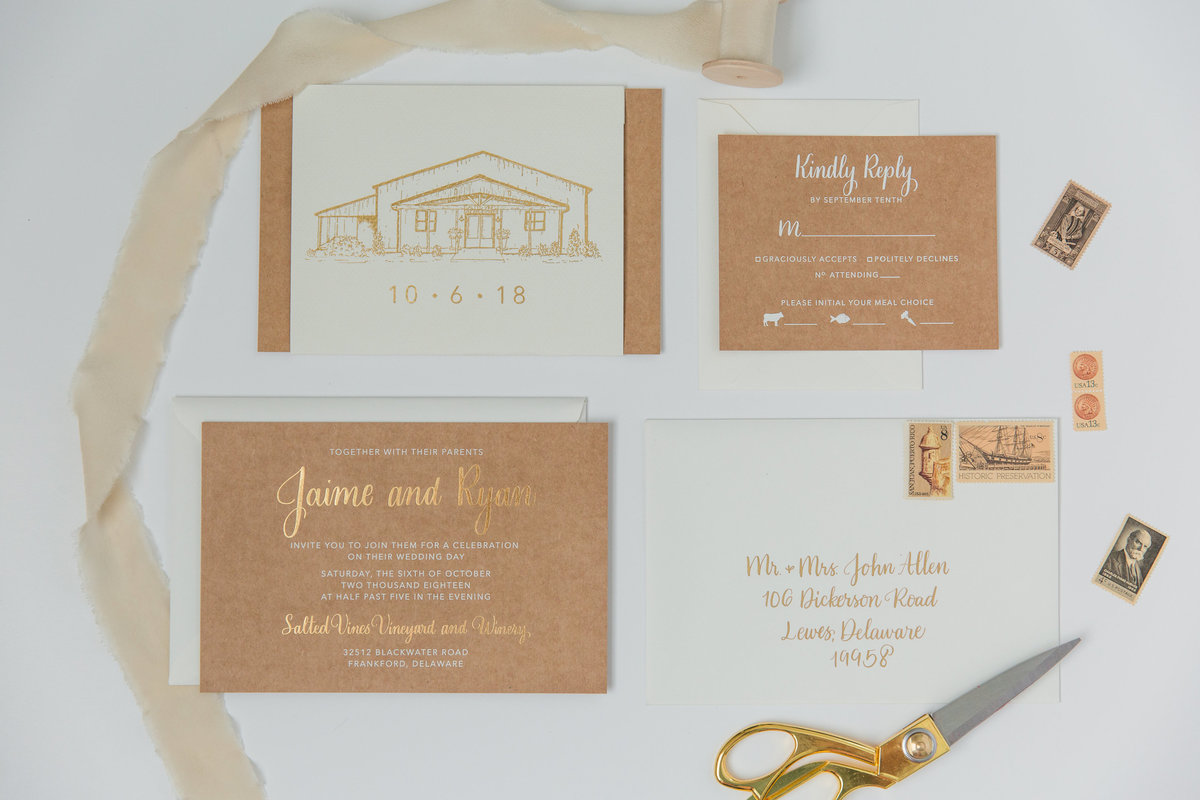 Custom gold ink wedding invitation suite with kraft paper details