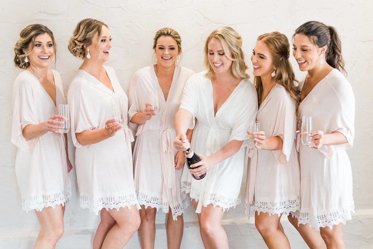 blush bridesmaids getting ready robes