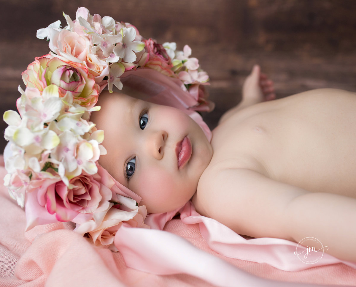 milestone session little girl floral bonnet photography