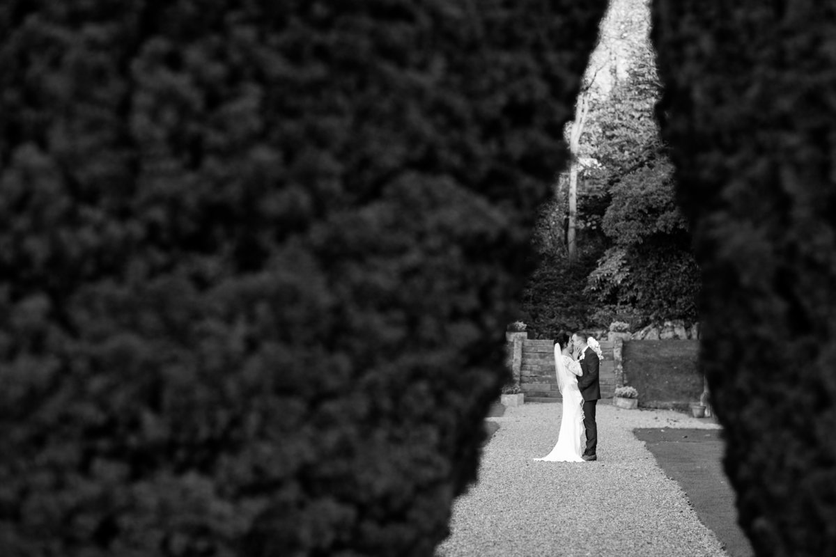 st audries park wedding photo black and white winter