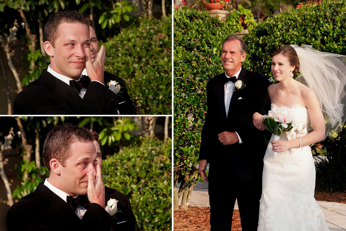 ritz carlton naples florida tea garden wedding ceremony groom crying