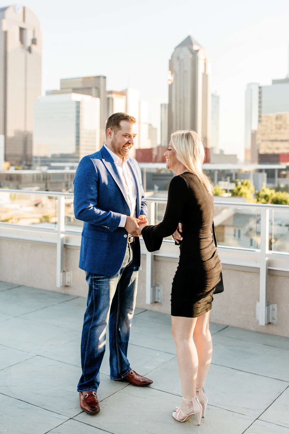 Eric & Megan - Downtown Dallas Rooftop Proposal & Engagement Session-22