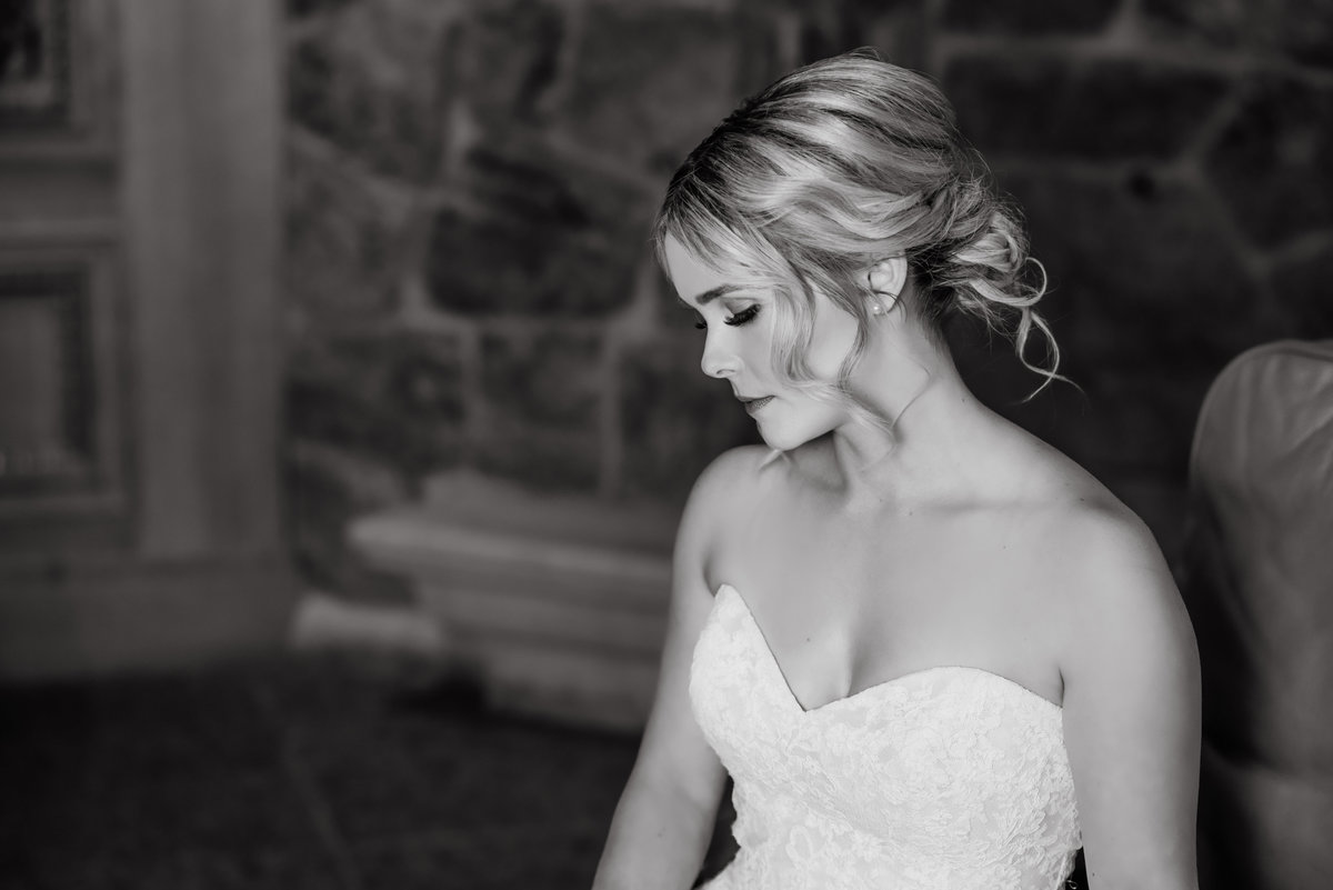 Black and white legacy photo of Bride at Snow Basin Ski Resort