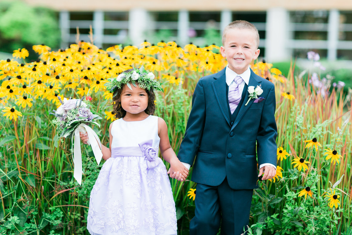 Flower Girl and Ring Bearer in front of Sunflowers Bastyr Univeristy Chapel Hollywood Schoolhouse Woodinville
