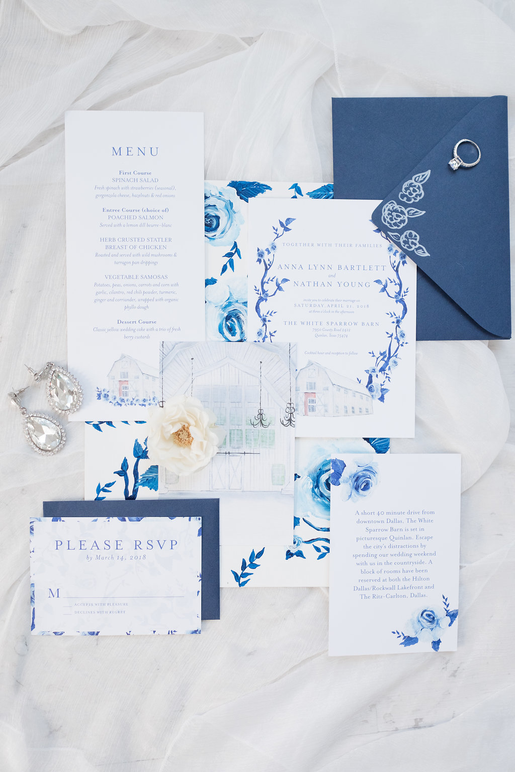 White Sparrow Quinlan Texas DFW Watercolor Wedding Invitation Suite  By Brittany Branson