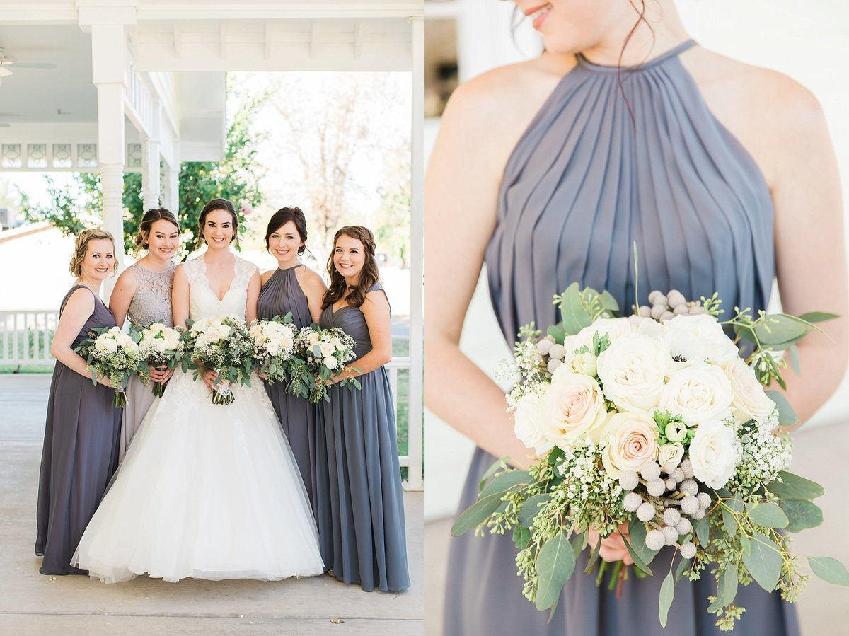 bride and bridesmaids in gray dresses at lavender and old lace mesa, az