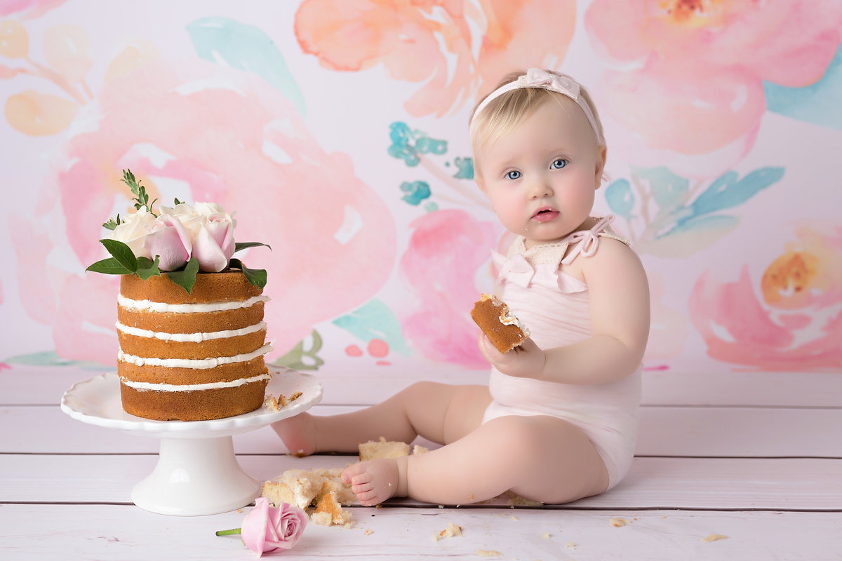 little girl naked cake smash