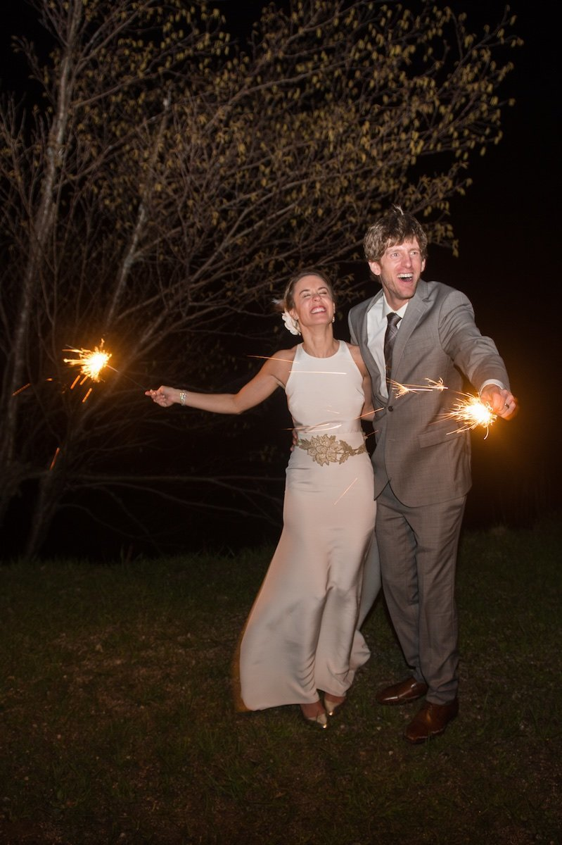 at dark wedding photos in Vermont at Jay Peak Resort with sparklers 1